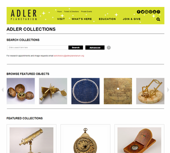 image of the Adler Collections homepage